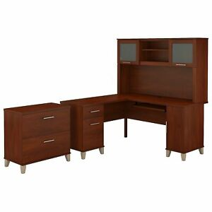 Bush Furniture Somerset 60w L Shaped Desk W hutch And Lateral File Cabinet