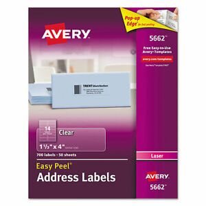 Avery Clear Easy Peel Address Labels Laser 1 1 3 X 4 700 box 5662