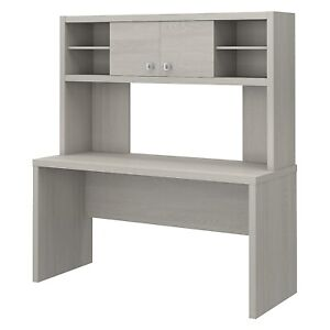 Office By Kathy Ireland Echo 60w Credenza Desk With Hutch Gray Sand Ech030gs