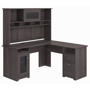 Bush Furniture Cabot L Shaped Desk With Hutch Heather Gray Cab001hrg