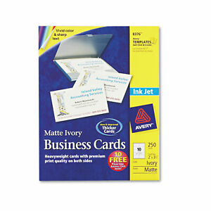Avery Printable Microperf Business Cards Inkjet 2 X 3 1 2 Ivory Matte 250 pack