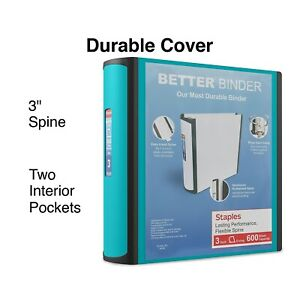 Staples Better 3 inch D 3 ring View Binder Teal 15129 us 702877