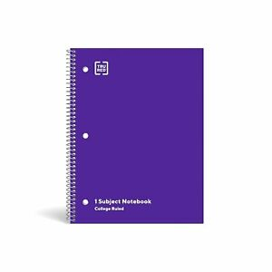 Staples 1 Subject Notebook College Ruled 8 X 10 1 2 Purple 1484083