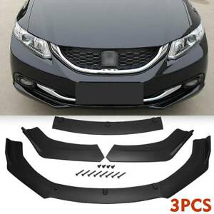 For 2013 1015 Honda Civic Sedan Matte Black Front Bumper Body Kit Spoiler Wing
