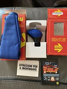 Momo Shift Knob Genuine Leather Blue And Boot
