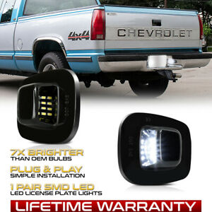 88 00 Chevy C K 1500 2500 3500 Bright White Led License Plate Lights Tag Lamps