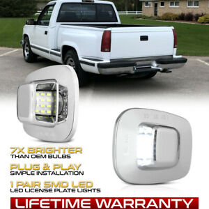 Chrome Bezel Full Led License Plate Light For Chevy C K 1500 2500 3500 Pickup