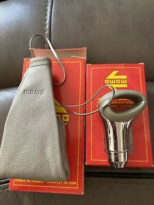 Momo Shift Knob Genuine Leather Grey Silver And Boot