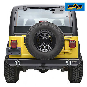 Eag Rear Bumper With Hitch Receiver d ring Offroad Fit 87 06 Jeep Wrangler Yj Tj