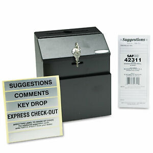 Safco Steel Suggestion key Drop Box With Locking Top 7 X 6 X 8 1 2 4232bl