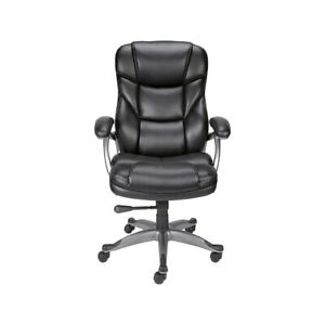 Staples Osgood Bonded Leather High back Manager s Chair Black 21076