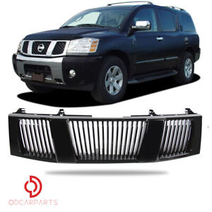 Fit 2004 2007 Nissan Titan Armada Front Hood Grille Vertical Style Gloss Black