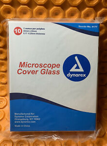 lot Of 10 Dynarex Microscope Slides Cover Glass 4177 Microscope 22mm X 22mm