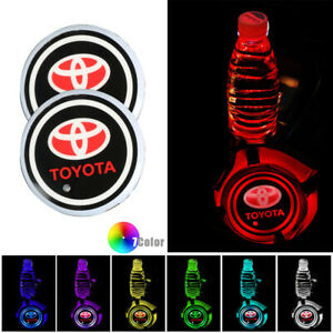 2pcs Led Car Cup Holder Pad Mat For Toyota Auto Atmosphere Lights Colorful V2