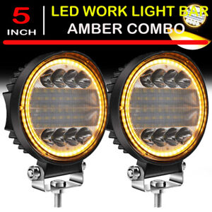 2x 5inch 300w Led Work Light Bar Flood Spot Beam Offroad Suv Driving Fog Lamp