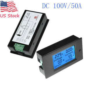 Dc 100v 50a Lcd Digital Ammeter Voltmeter Volt Voltage Watt Current Power Meter
