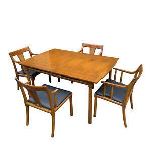 Mcm Drexel Style Campaign Walnut Dining Set 56 Table 4 Cane Back Chairs
