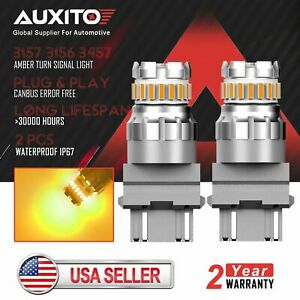 2x Auxito 3157 3156 4157 Amber Led Turn Signal Brake Parking Light Bulb Yellow
