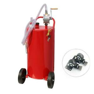 35 Gallon Rotary Pump Gas Caddy Fuel Transfer Tank Wired Hose Protable Free Ship