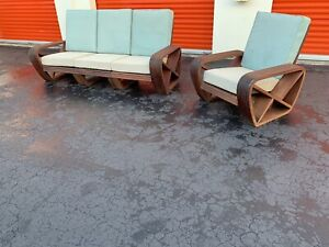 Outstanding Mid Century Modern Six Band Teak Sofa And Chair After Paul Frankl