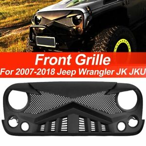 Front Matte Angry Bird Grille Grid Grill For 2007 2018 Jeep Wrangler Jk Jku Abs