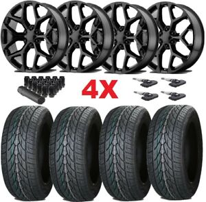 22 Gloss Black Wheels Rims 5668 285 45 22 Lionhart Tires Gmc Sierra Snowflake