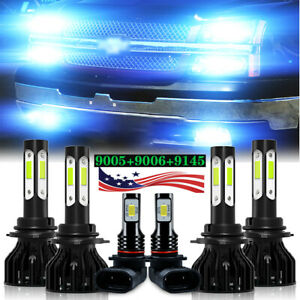For Chevy Silverado 1500 2500 Hd 2004 2006 6 led Headlight fog Light Bulbs Combo