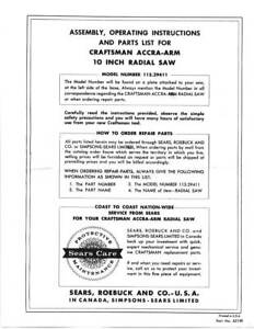 Craftsman Accra arm 10 Inch Radial Saw 113 29411 Assembly Operating Instruction