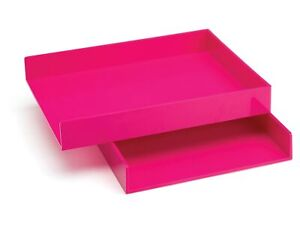Poppin Front Loading Letter Trays Pink 2 pack 100215