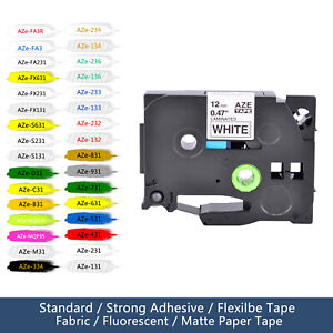 Label Compatible For Brother P touch Black Ink Tz Tze Tape