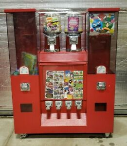 Coin Op Vending 5 Bulk Candy toy Machines Plus Tattoo sticker Machine On Rack
