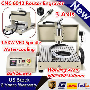 1 5kw 3 Axis Cnc 6040 Router Engraver Woodwork Machine Mill Drill Carving 1500w