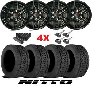 Trd Black Wheels Rims Tires 285 70 17 At Nitto Terra Grappler Package 96519