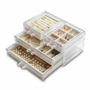 Acrylic Jewelry Box 4 Drawersclear Jewelry Organizer Velvet Rings Necklaces E