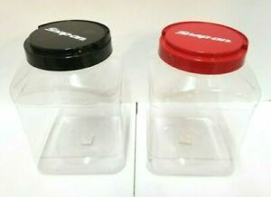 Snap On Tools Storage Containers Set Of 2 red Black Top Handle Light Plastic