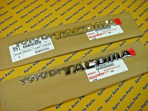 2 Toyota Tacoma Front Door Emblems Chrome Oem Genuine 1995 2004 Left And Right