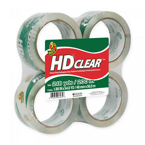 4 Pack Duck Hd Clear High Performance Moving Packaging Tape 1 88 X 54 6 Yards