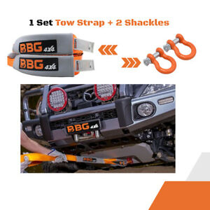 Bbg4x4 Recovery Heavy Duty Tow Strap Kit 3 In X 30 Ft With 2 Shackles