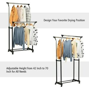 Double Rail Adjustable Clothing Garment Rack With Wheels 36 X 70 free Ship
