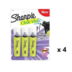 Lot Of 4 Sharpie Yellow Highlighter 12 Pens Clear View Tip Work School Studying