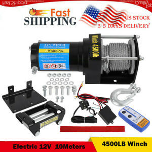 4500lb 12v Winch Atv Utvelectric Remote Waterproof Boat Steel Cable Kit Offroad