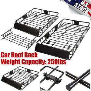 Universal Roof Rack Car Top Cargo Basket Carrier With Extension Luggage Holder