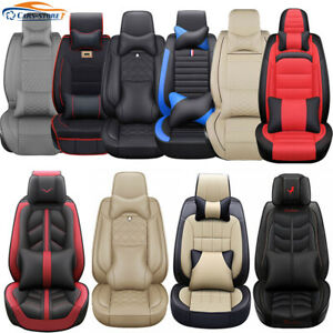 Us Luxury Car Seat Covers Top Pu Leather 5 Seats Front Rear Universal Interior