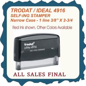 1 Line Rubber Stamp Custom Text On Narrow Case Trodat ideal Self Ink 4916