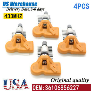 Set Of 4pcs 36106856227 Orange Tire Pressure Sensor Tpms For Bmw X3 X5 Z4 Mini
