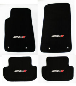 New Black Carpet Floor Mats 2010 2015 Camaro Embroidered Zl1 Logo All 4 Set