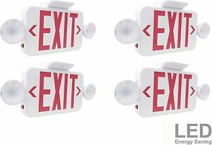 Lit path Combo Emergency Exit Sign With 2 Adjustable Lights Red Letter 4pk