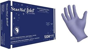 100 Count Starmed Blue Nitrile Exam Gloves Powder Free X small Size