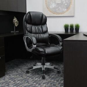 Walnew High Back Ergonomic Executive Office Chair Pu Leather Black