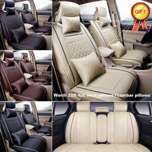 Universal Car Seat Cover Full Set Pu Leather Cushion Front Rear Interior Protect